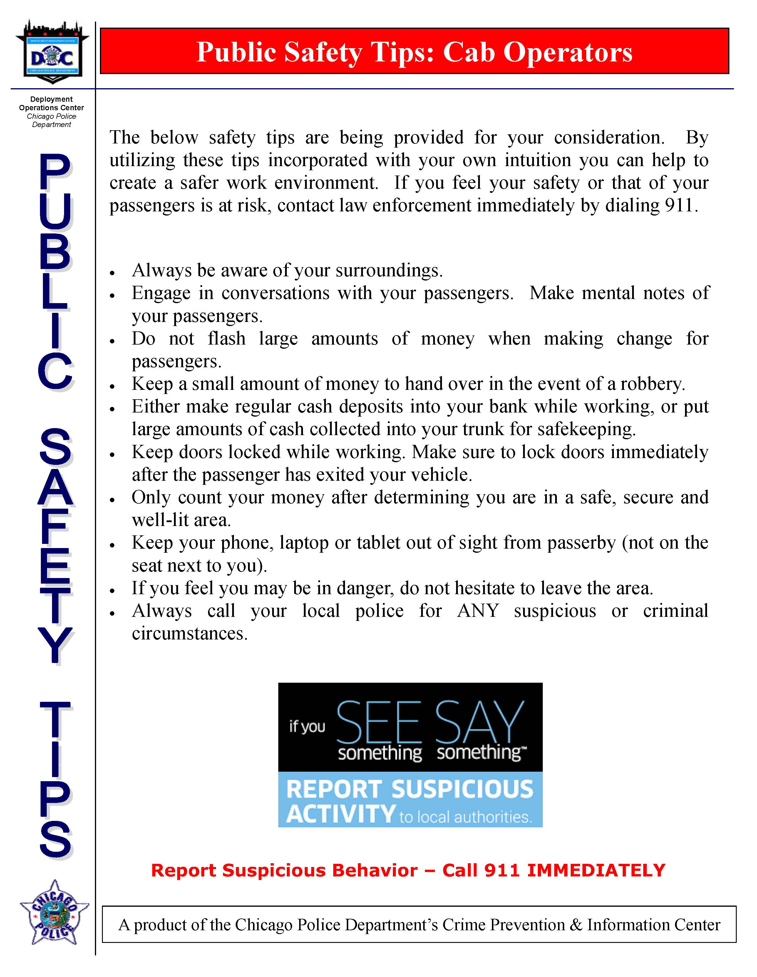 Public Safety Tips - Cab Operators
