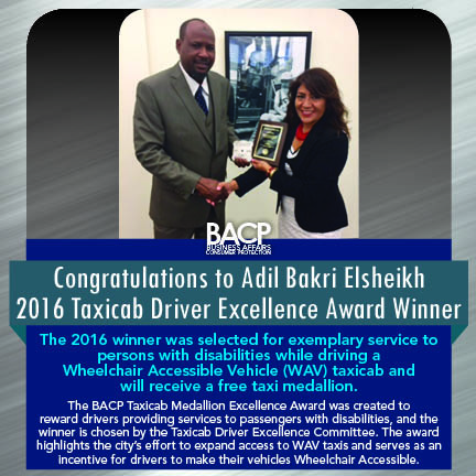 2016 Taxicab Excellence Award