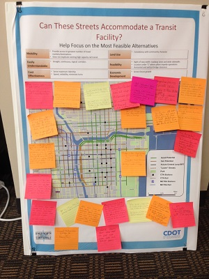 The public gave their feedback on potential corridors for transit