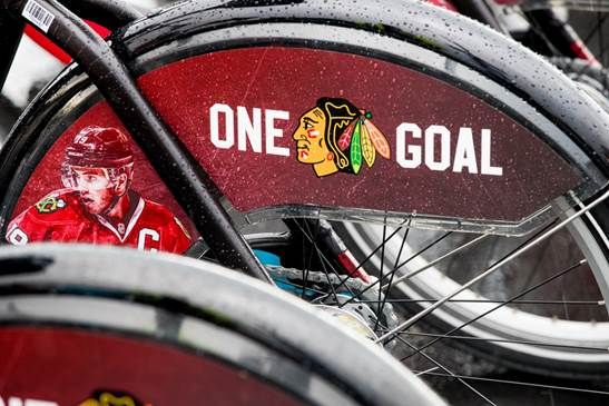 Each of the specially designed fenders feature the image of a Blackhawks player