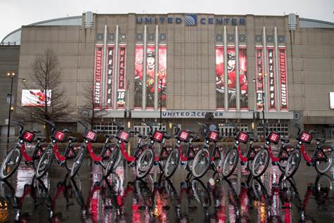 Ten Blackhawks' themed Divvy Bikes awaiting release on Tuesday, April 11