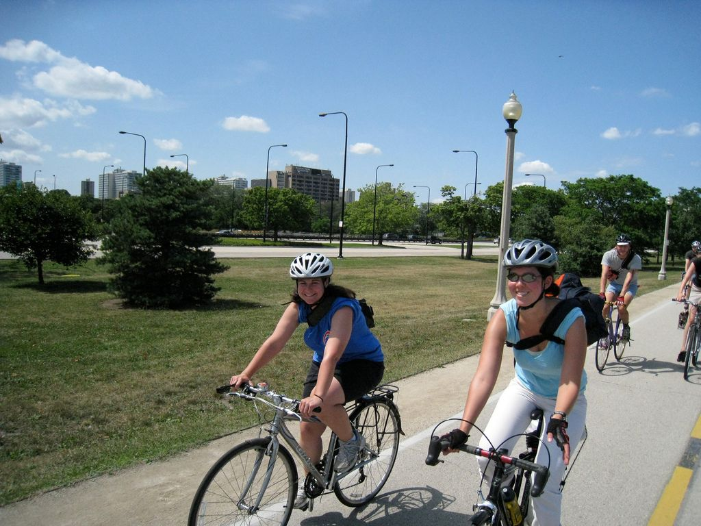 City Bikes In Chicago Bicyclists ride on the