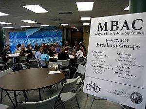 Photo of poster showing MBAC agenda for June 17, 2009, public meeting.