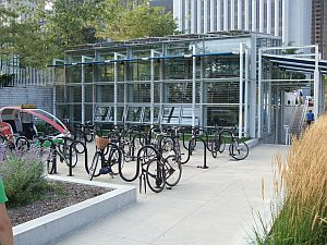 South view of the McDonald's Cycle Center in Millennium Park.