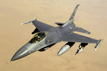 U.S. Air Force F-16 (A U.S. Air Force F-16 Fighting Falcon Block 40 aircraft after receiving fuel from a KC-135 Stratotanker aircraft during a mission over Iraq on 10 June 2008. This F-16 is assigned to the 34th EFS Balad Air Base, Iraq and is deployed from the 388th Fighter Wing at Hill Air Force Base, Utah. (U.S. Air Force photo by Master Sgt. Andy Dunaway/Released)