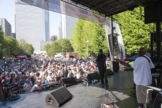 Crowd enjoying a performance on the Mississippi Juke Joint stage at the 2013 Chicago Blues Festival