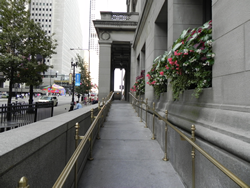 Wheelchair ramp on the Randolph Street entrance of the Chicago Cultural Center