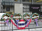 Memoral Day wreaths on display in Daley Plaza