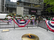 Memoral Day wreaths on display at the eternal flame in Daley Plaza