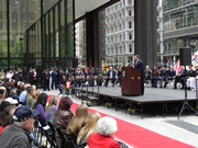 Former Defense Secretary, Leon Panetta speaking at the Wreath Laying Ceremony in Daley Plaza