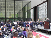 The gols star families being honored at the Wreath Laying Ceremony in Daley Plaza