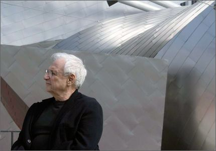 Frank Gehry, at the Jay Pritzker Pavilion in Millennium Park