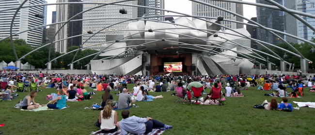 Millennium Park Summer Film Series on the Frank Gehry-designed Jay Pritzker Pavilion and Great Lawn