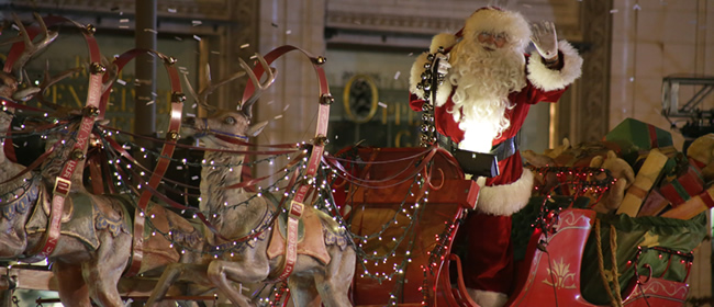 Santa in the The BMO Harris Bank Magnificent Mile Lights Festival®