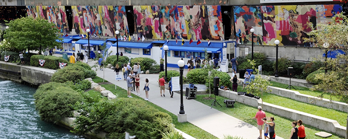Candida Alvarez, Howlings - Soft Paintings, 2017-2019, Latex in on PVC mesh, 200 ft wide, spread over 4 panels x 14-17 ft tall, Riverwalk, Michigan Avenue at Wacker Drive, Chicago IL.