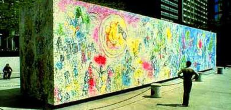 City of chicago chagall 39 s four seasons for Chagall mural chicago