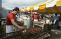 Vendor cooking bbq ribs