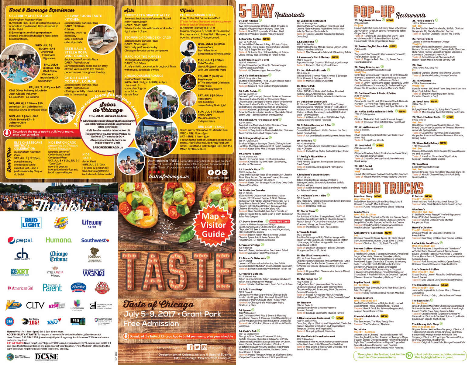 City Of Chicago  Taste Of Chicago Map  Brochure - Chicago map safety