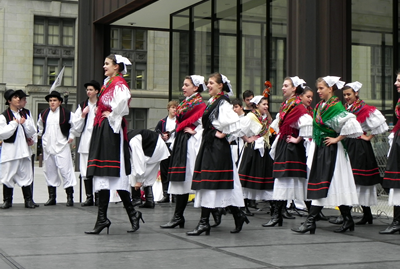Traditional Croatian dancers performing on stage at the Croatian Fest at Daley Plaza
