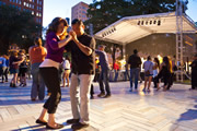 Couple Dancing at Chicago SummerDance in the Spirit of Music Garden in Grant Park