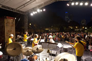 Band performing at Chicago SummerDance in the Spirit of Music Garden in Grant Park