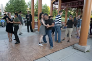 Couples dancing at Chicago SummerDance in Ping Tom Park