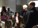 Mayor Emanuel visits with the lawyers working to assist travelers detained at O'Hare Airport on January 29, 2017