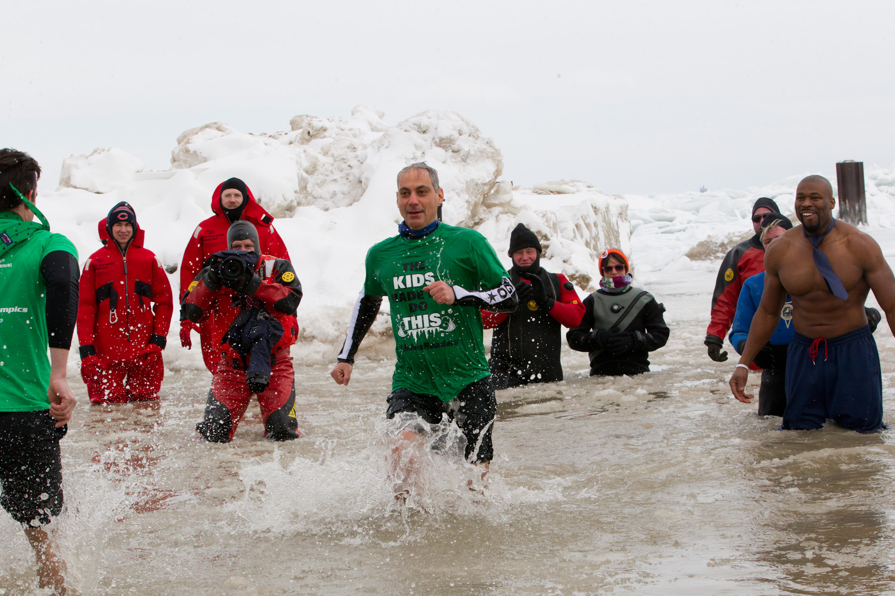 Mayor Rahm Emanuel participates in the Polar Plunge