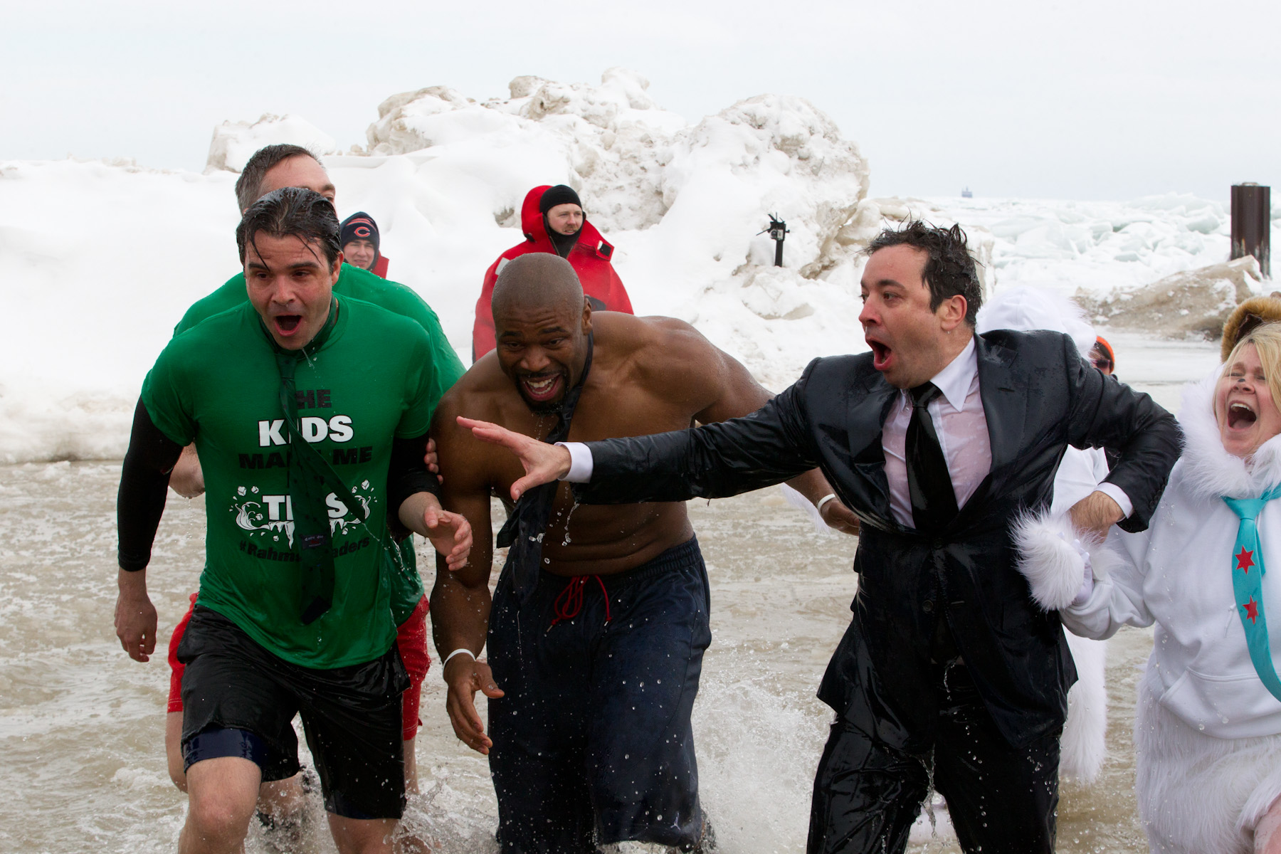 Jimmy Fallon, Israel Idonije, Brian Bannon and Mike Kelly participate in the Polar Plunge