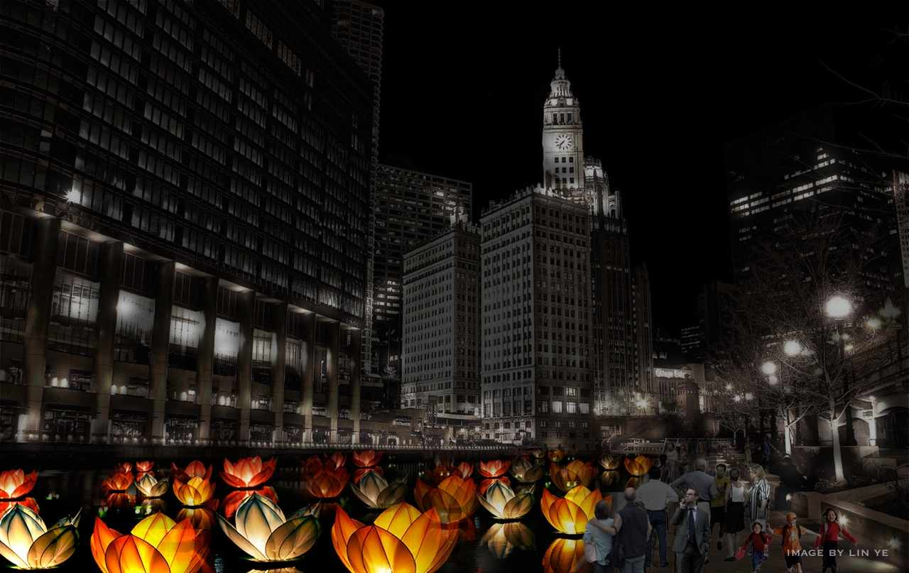 A rendering of the procession of illuminated floating fiberglass sculptures