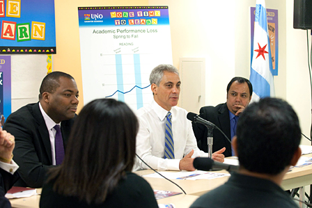 Mayor Rahm Emanuel and Chicago Public Schools (CPS) CEO Jean-Claude Brizard joined United Neighborhood Organization (UNO) CEO Juan Rangel at Marquez School today to meet with parents, teachers and students to discuss the positive impact of a longer school day with additional instructional time.