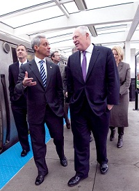 Mayor Emanuel and Gov Quinn at the 35th Red Line CTA station