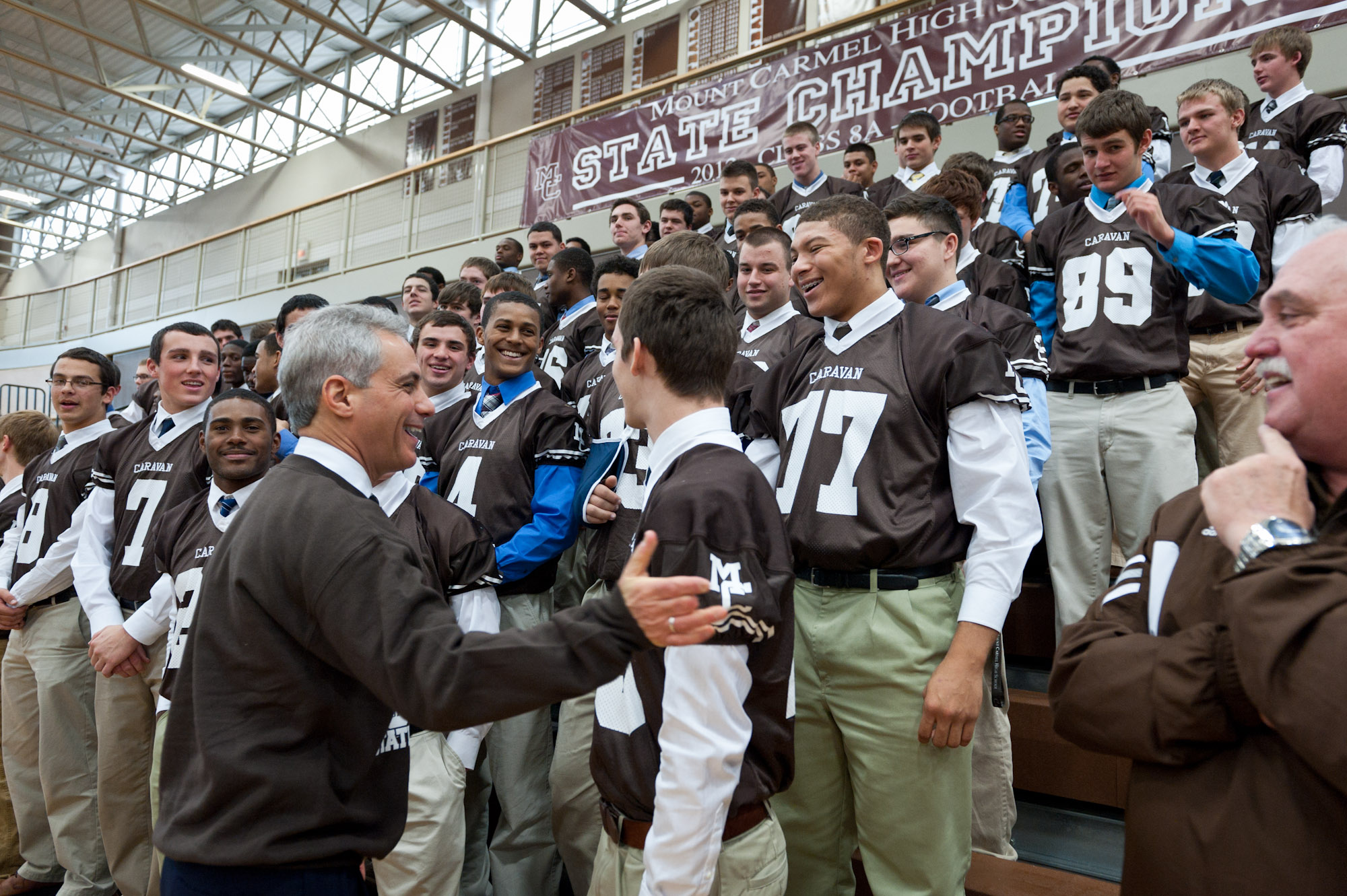 Mayor Emanuel Congratulates Mount Carmel Caravan Football Team On Winning the State Championship