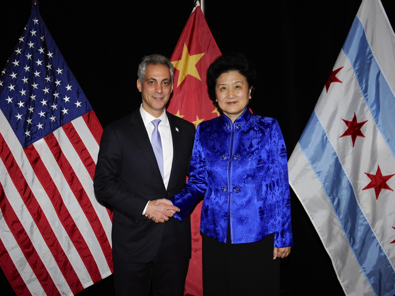 Mayor Rahm Emanuel welcomes Her Excellency Liu Yandong, the Vice Premier of the State Council of the People's Republic of China to Chicago.