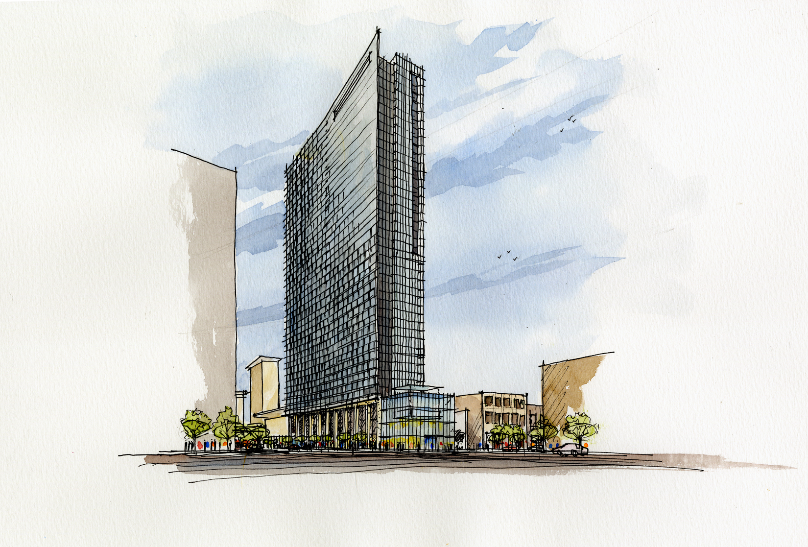 Rendering of Headquarters Hotel in McCormick Place entertainment district