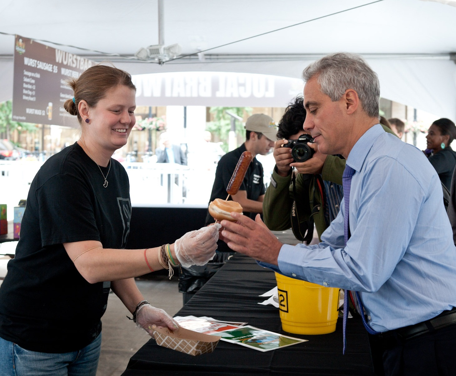 Mayor Emanuel joins residents at the opening day of The Wurst Festival at Daley Plaza