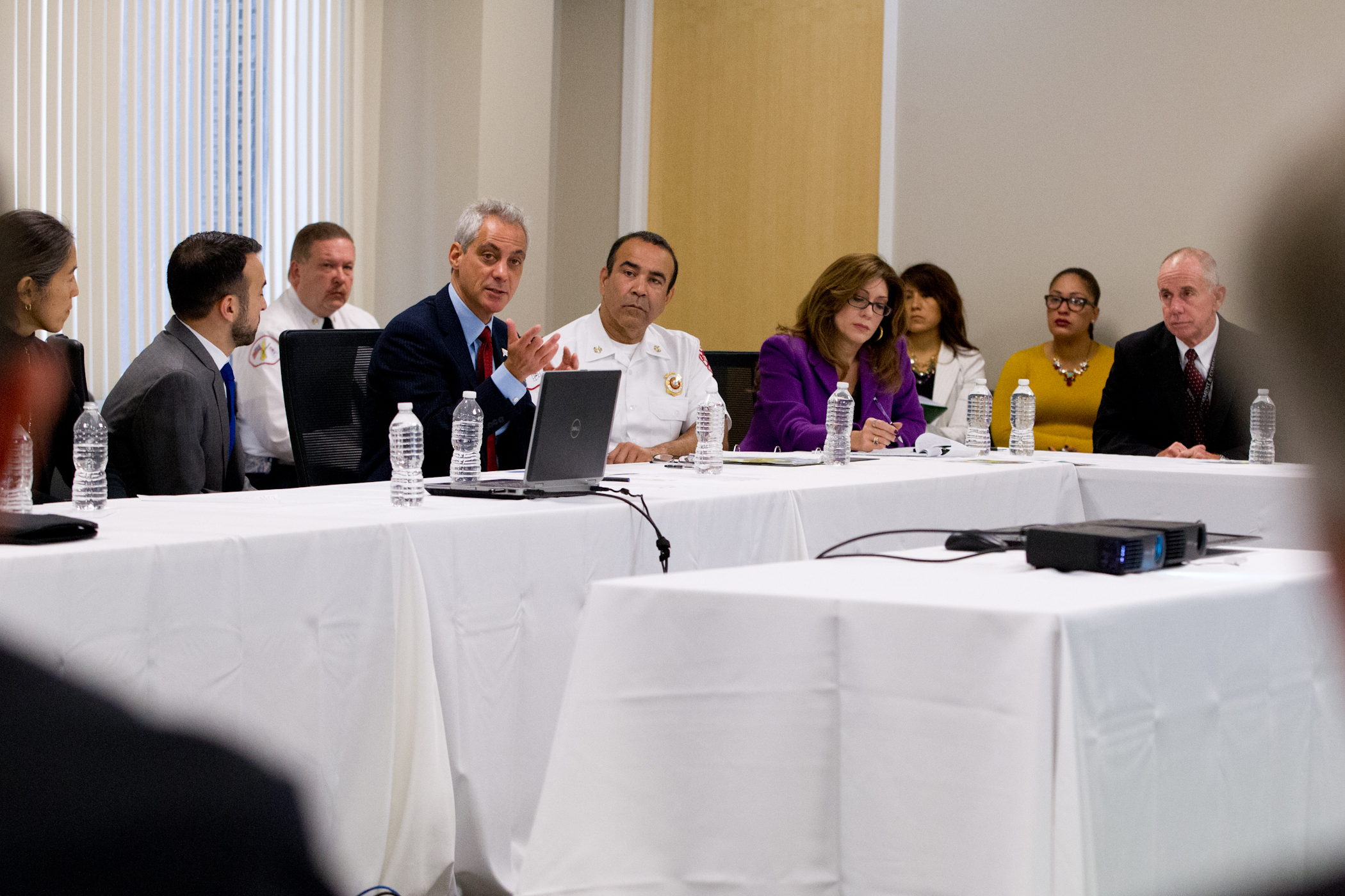 Mayor Emanuel meets with public health officials, cabinet members and hospital leaders on Ebola preparedness.