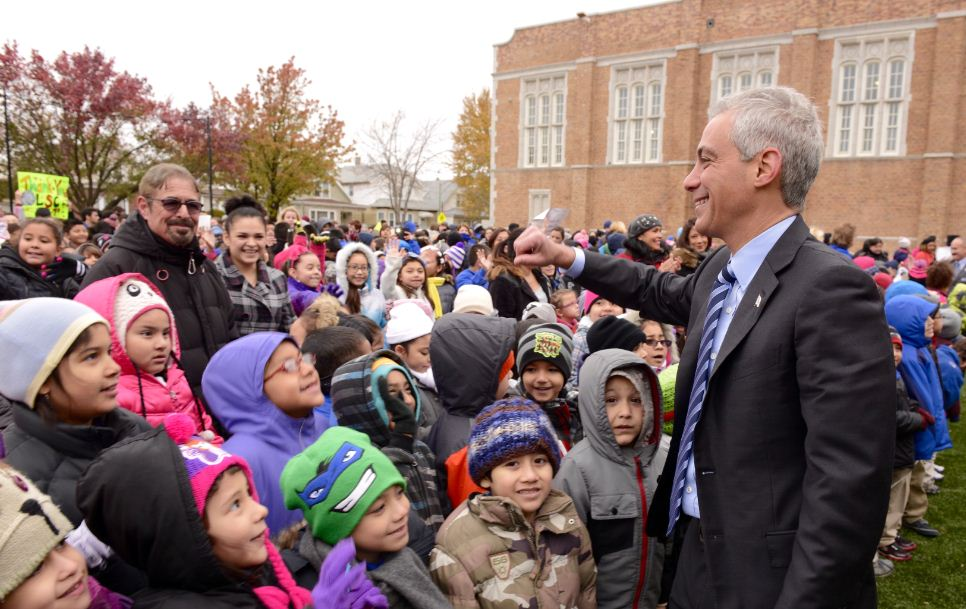 Mayor Emanuel joins Mary Lyon students and staff to cut the ribbon on the new playground and turf field.