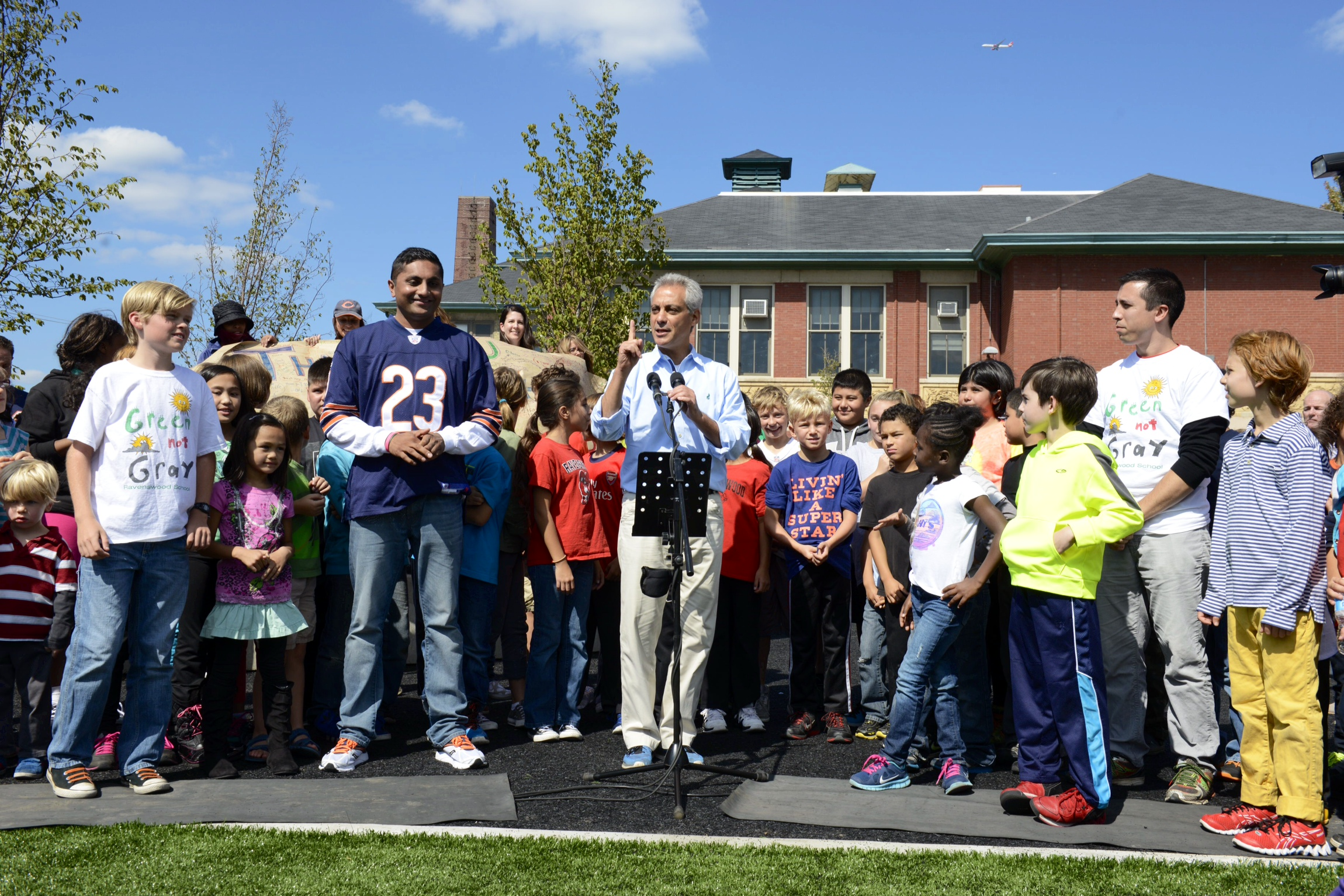 Mayor Emanuel Cuts Ribbon At Ravenswood Elementary School Playground