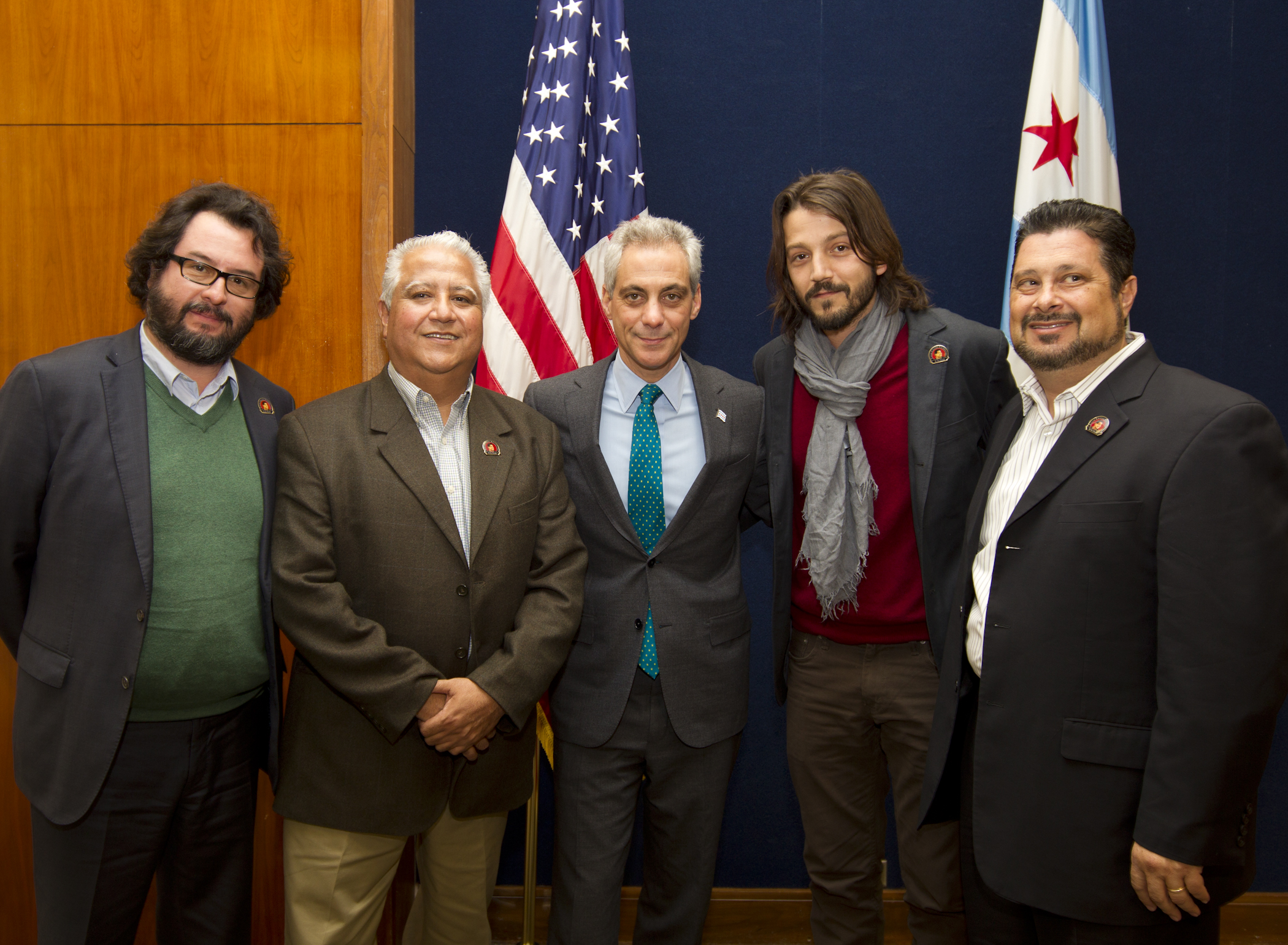 Chicago Mayor Rahm Emanuel meets with Paul Chavez, President of the Cesar Chavez Foundation and film director Diego Luna.