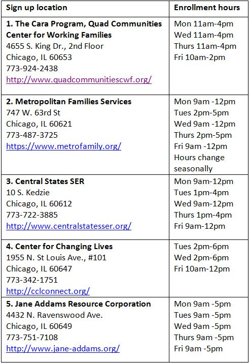 Enrollment locations and hours