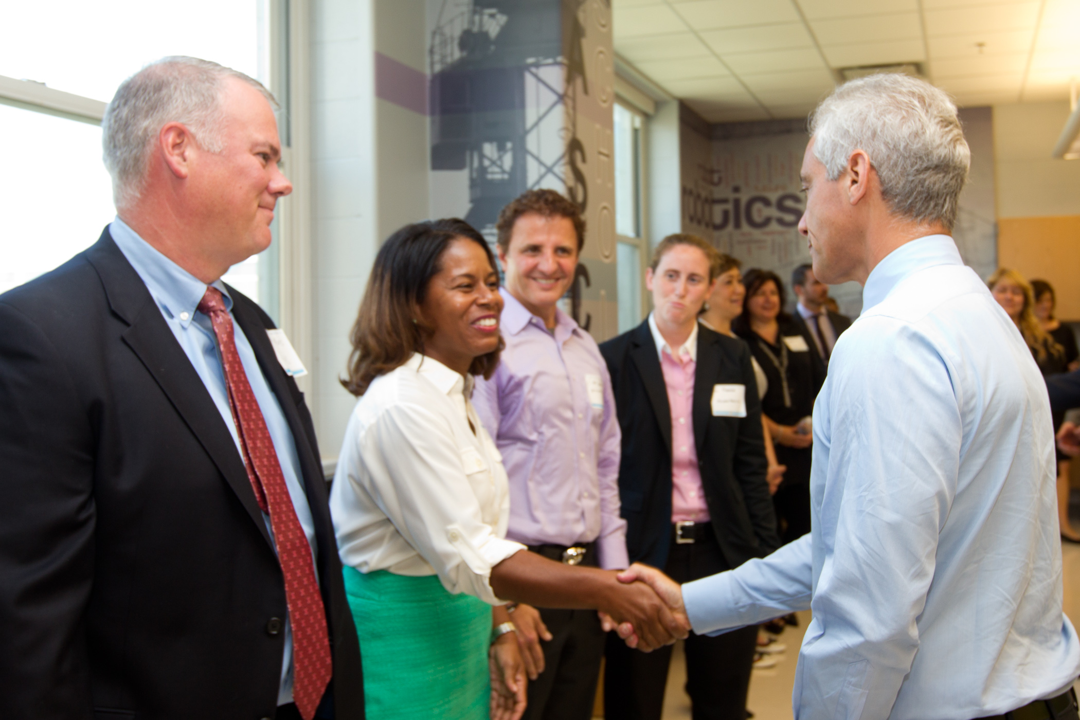 Mayor Emanuel joins corporate engineering partners and CPS leadership in touring a new engineering lab at Westinghouse College Prep, made possible with support of corporate partner Paschen.
