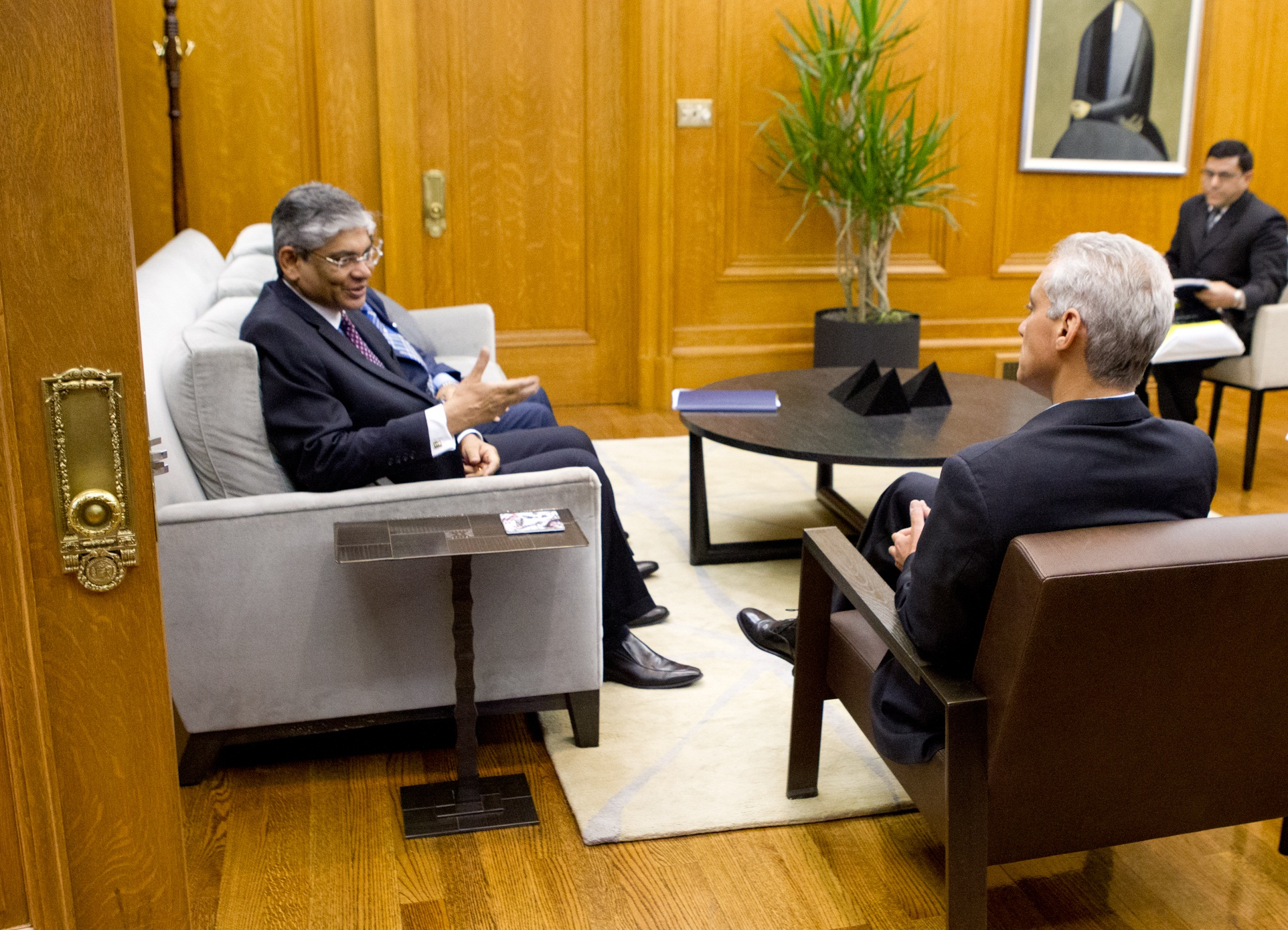 Mayor Emanuel Welcomes to Chicago Arun Kumar Singh, Indian Ambassador to the United States.