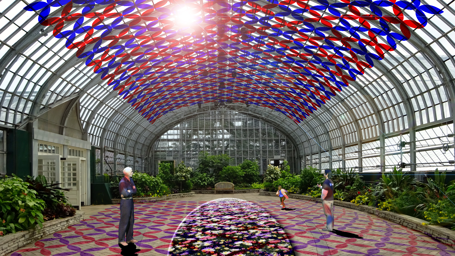 Florescence: A sculptural canopy of red and blue petals that will cast colorful shadows throughout the Show House by day and by night. The Show House color panel installation will reveal the spectrum of light necessary for plant growth.