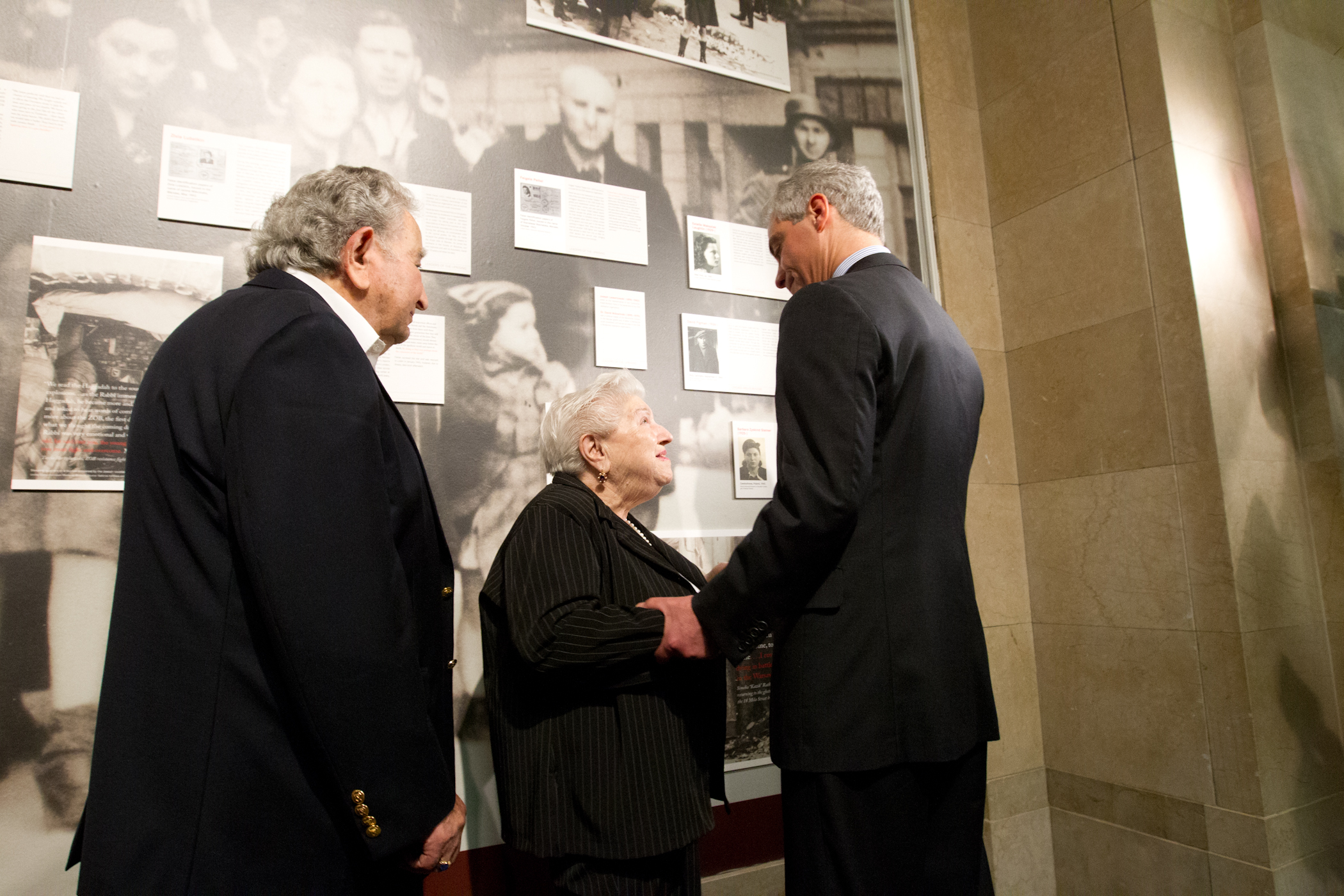 Mayor Emanuel joined by Barbara Steiner and David Figman at the unveiling of the 70th Anniversary of the Warsaw Ghetto Uprising exhibit