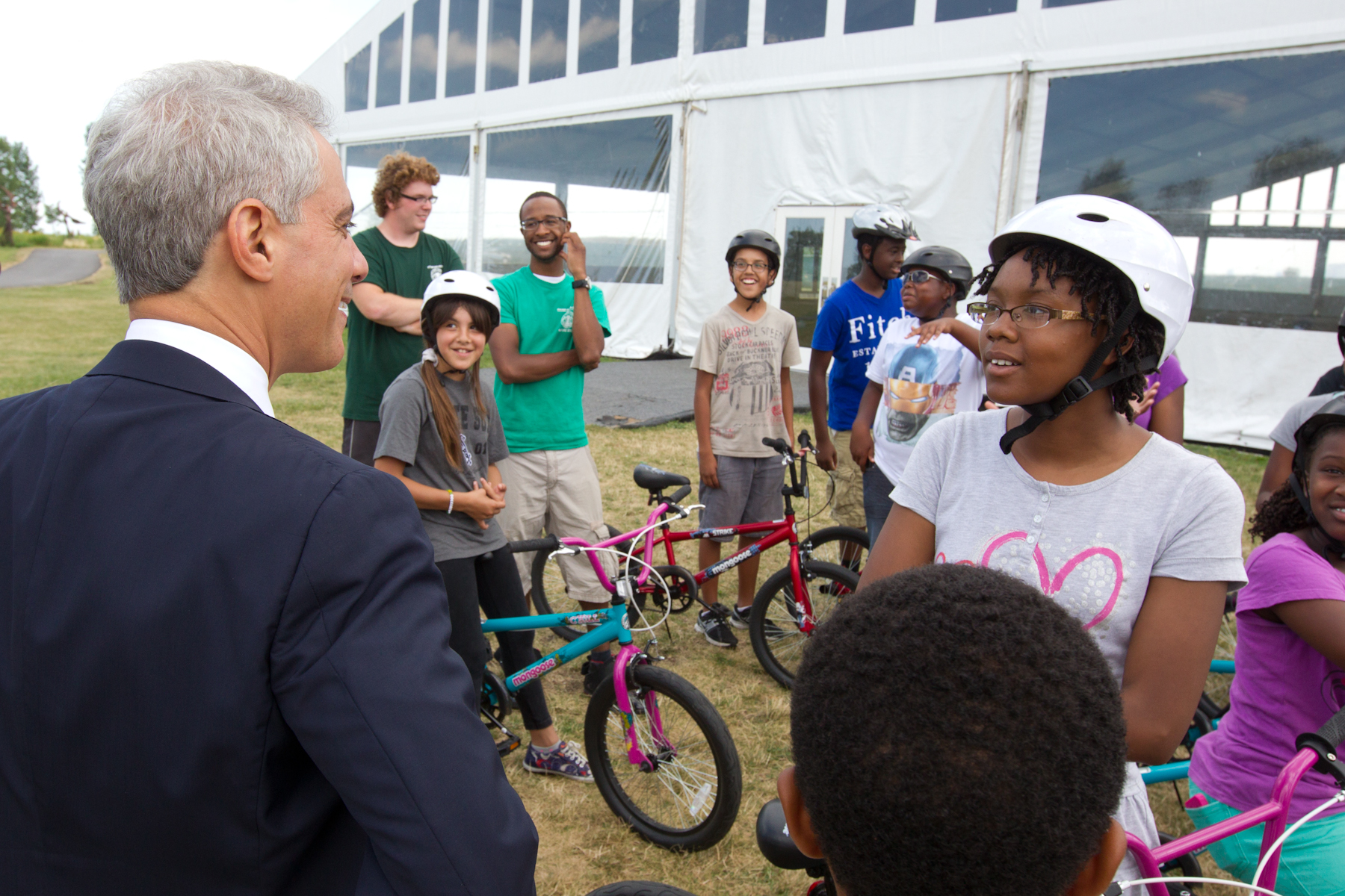 Mayor Emanuel visits with children at the Chicago Park District's Northerly Island Park Day Camp.