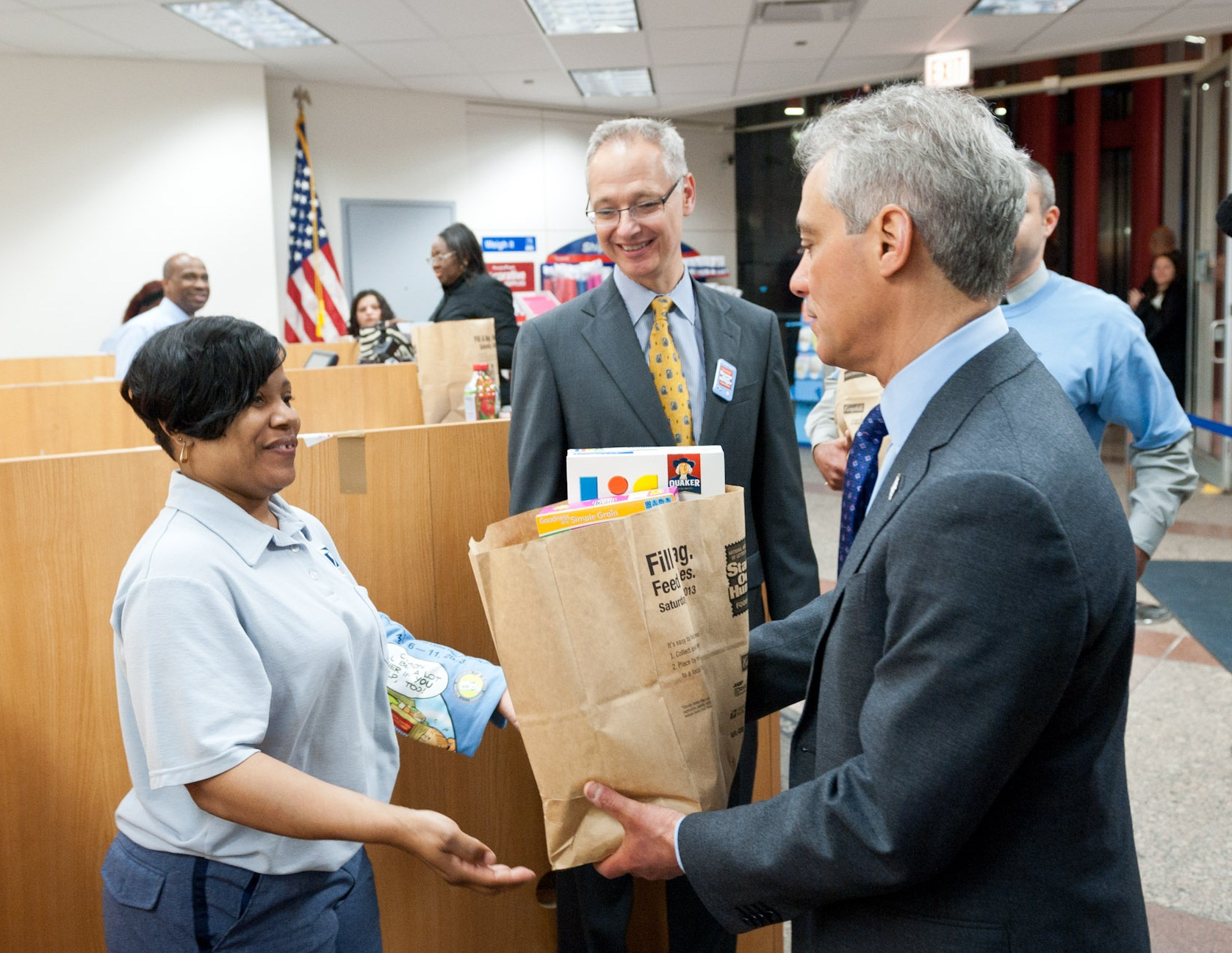 Mayor Emanuel Donates Food In Support of the Stamp Out Hunger food drive.