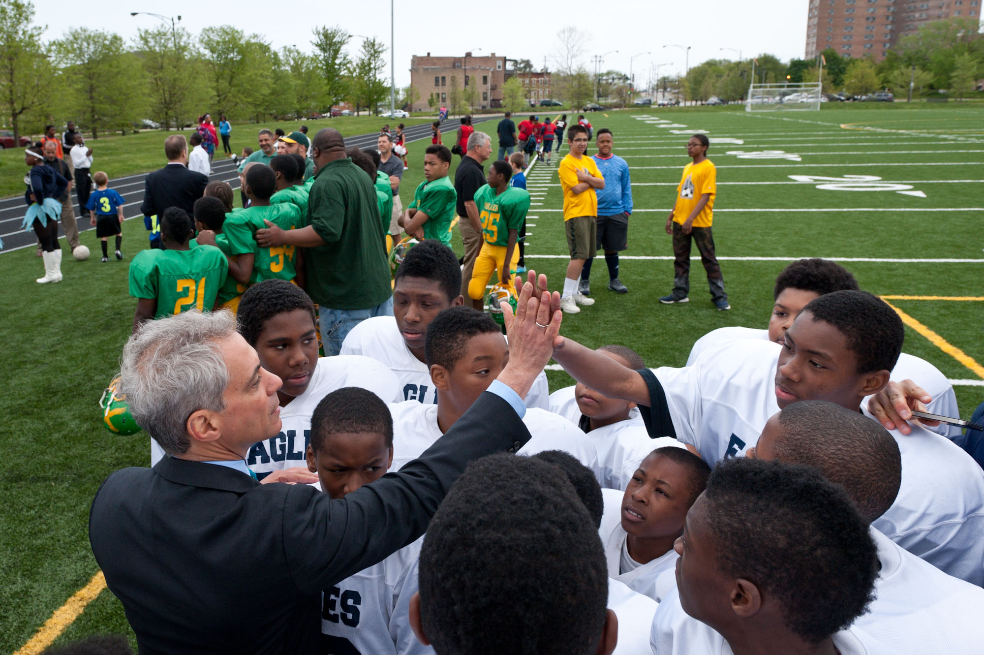 Mayor Rahm Emanuel joins Chicago Park District and Chicago Public School children and members of the community to celebrate the opening of a new athletic field at Mandrake Park.