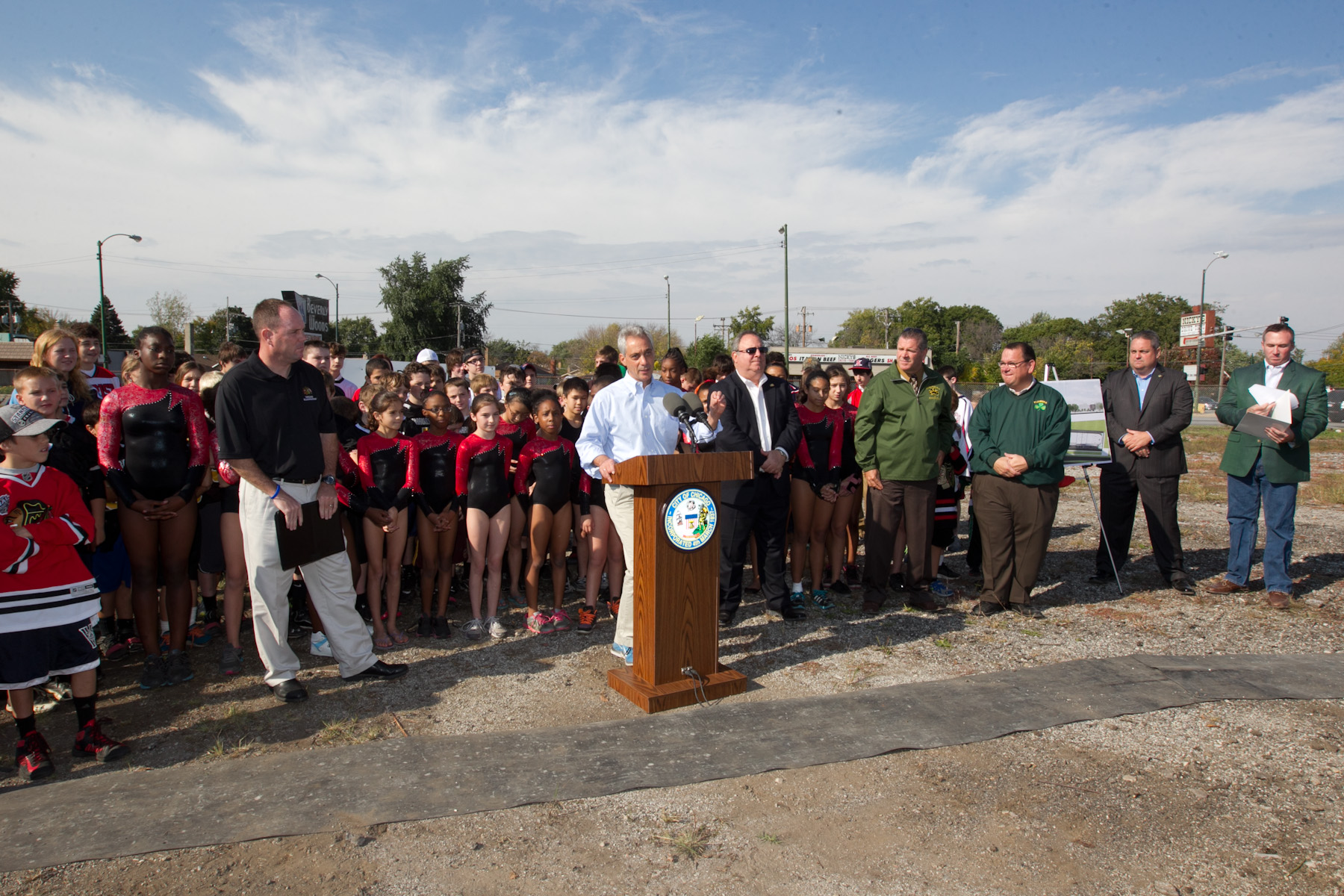 Mayor Rahm Emanuel, Chicago Park District Superintendent Michael Kelly, Alderman Matt O'Shea and community members from Morgan Park and Beverly gather to announce a new sports complex that will feature an indoor ice rink and gymnastics center.