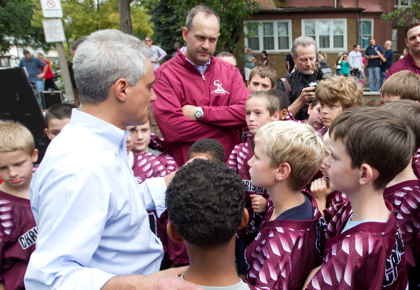 Mayor Rahm Emanuel greets youth athletes at Ridge Park to highlight what will be a completely rehabilitated playground as part of the Chicago Plays! Playground Renovation Program.